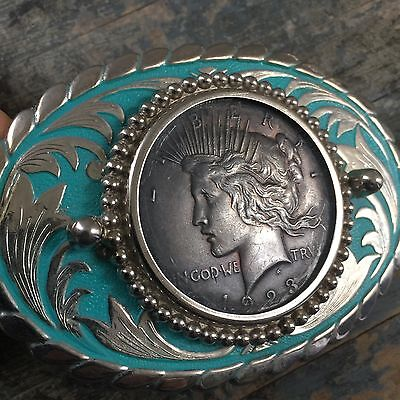 Vintage Liberty Dollar Coin Belt Buckle Cowboy Western Jewelry Native American