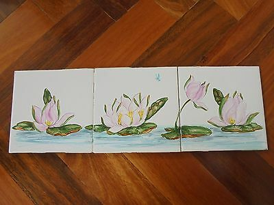 Vintage Architectural Antique Water Lily Tile Old X 3
