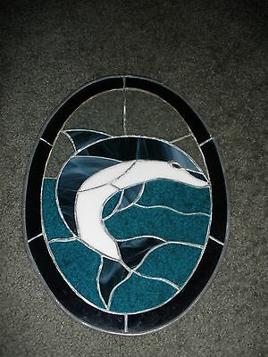 "Dolphin Stained Glass 13"" x 9 1/2"" Oval Window Sun Catcher Ocean Sea Marine WOW"