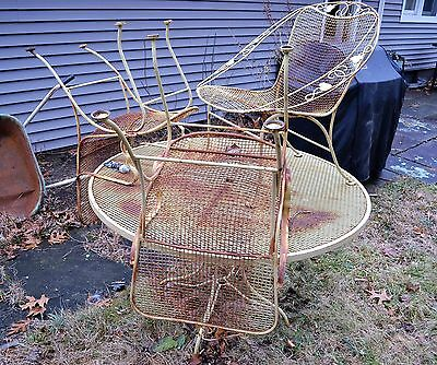 Vintage Iron Outdoor Patio Dining Table, 5 Chairs and 2 Lounge Porch Deck