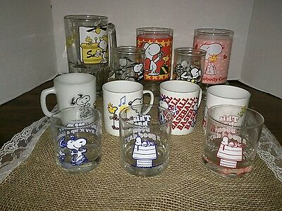 Snoopy Peanuts mixed lot of 12 cups, mugs and glasses....Vintage