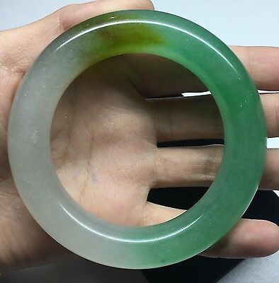 Antiques natural Icy Green icy white yellow JADE Bangle Bracelet 60 mm 90002