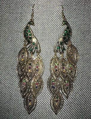 Peacock Large Dangle Earrings Gold-tone Emerald Rhinestone And Multiple Colored