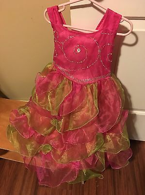 Girls Size 4 Pageant/flower Girl Dress Pink Green Fancy Special Occasion Fairy