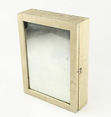 Vintage White Medicine Cabinet W/ Mirror Chippy & Crackling Paint Wood Rustic