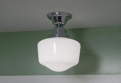 Semi Flush Schoolhouse Ceiling Light Vintage Opal Glass Shade New Chrome Fixture