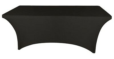 Stretch Fitted 4 ft. Rectangular Table Cover Spandex Black