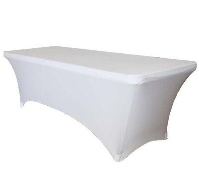 Stretch Fitted 6 ft. Rectangular Table Cover Spandex White