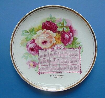 1910 Advertising Calendar Plate from H.W. Sunday  LaBott PA Floral Dresden China