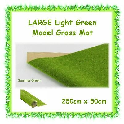 LARGE mat of flat model artificial grass - 250cm x 50cm - train fairy garden