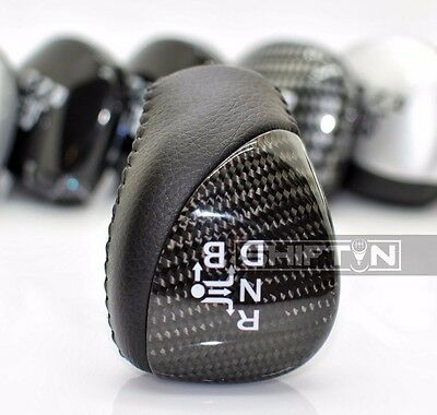 Black Leather Real Carbon Fiber Toyota Prius Auris Gear Shift Knob Shifter KBCN
