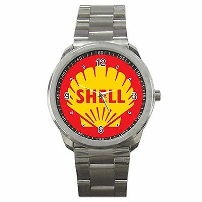 Hot!! Shell Oil Gasoline Old Classic Gas Pump Sign Logo Sport Metal Watch*433