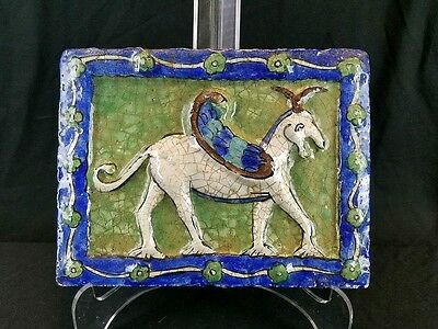 Antique Persian Middle Eastern Pottery Glazed Plaque Tile Mythical Beast
