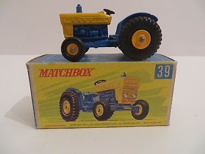 Matchbox No.39 Ford Tractor Blue & Yellow BPW in Super Rare Original G-Type Box