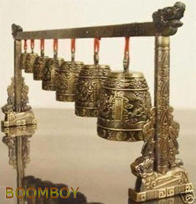 Rare Collectable Musical Meditation Gong with 7 Ornate Bells with Dragon Design