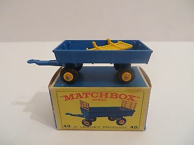 Matchbox No.40 Hay Trailer Blue Body Yellow Stakes in Original E-Type Box