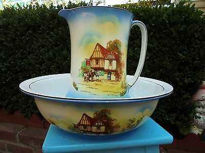 ANTIQUE ENGLISH EMBASSY WARE RED ROOF INN WASH JUG AND BOWL TOILET SET c1925