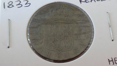 1833 SPAIN 2 REALES gF GREAT DETAILS TONED SILVER COIN LOW MINTAGE SPECIMEN!