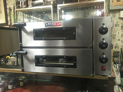 """220V American Commercial 19 1/2"""" Double Electric Ceramic Stone Pizza Oven Ex Cnd"""