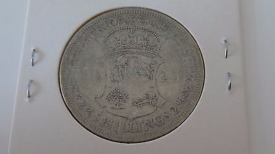 1923 SOUTH AFRICA aF TWO & 1/2 SHILLINGS SILVER PRE DECIMAL COIN CARDED