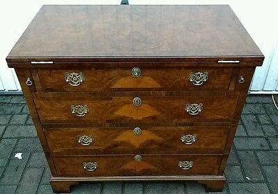 Antique Georgian Style Burr Walnut Bachelors Chest Of Drawers,desk,bookcase,