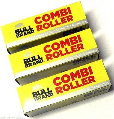 3 x BULL BRAND CIGARETTE ROLLING ADJUSTABLE MACHINES SLIM and ULTRA COMBI ROLLER