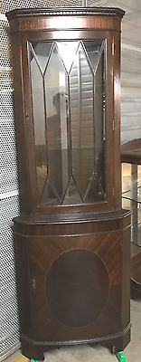 Vintage Mahogany Veneer Inlay Door & Glass China,book Display Corner Cabinet