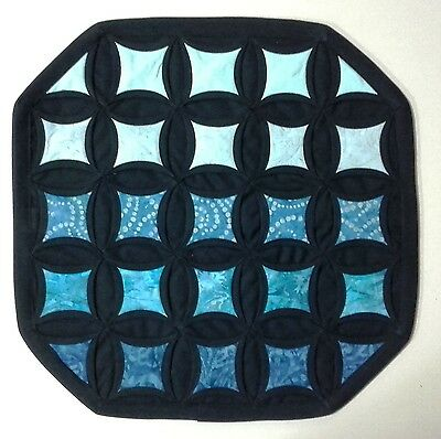 Black and Turquoise Pillow Cover Quilted Patchwork Decorator Cushion