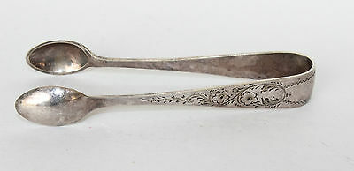 Vintage engraved silver plated sugar tongs