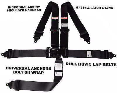 Black Sfi 16.1 Universal Racing Harness Latch & Link 5 Point Bolt In Or Wrap In