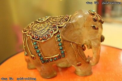 Chinese Costful crystal 24K Gold Gem handwork carved lifelike elephant Statue