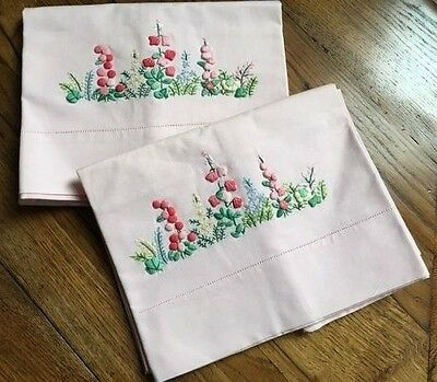 Pair of  VINTAGE STYLE EMBROIDERED PILLOW CASES