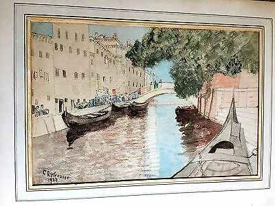 Antique Original Signed Watercolor Painting Venice, Italy Gondola Canal