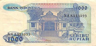 Indonesia *1000* Rupiah  1987  Prefix XAA Replacement Circulated Banknote A424EL