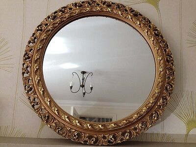 Large Victorian Style Round Gold Gilt Mirror Rococco Acanthus Gesso Frame