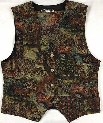 Vintage Vest Wool Woven Button Up Alaska Moose Wolf Bear owl Tapestry Women's L?