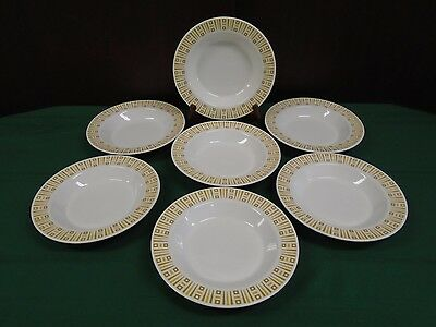 Syracuse China SY581 Syralite Set 7 RIMMED SOUP BOWLS Yellow Brown Southwestern