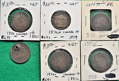 "Collection Of 24 Canadian 1-Cent Pieces: 1859 - 1895.  Range From ""Holed"" To AU"