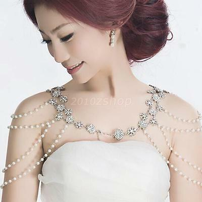 Bling Rhinestone Pearl Shoulder Body Chain Necklace Wedding Party Jewelry