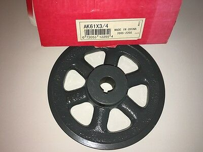 """Gates Part No. AK61X3/4 V-Belt Pulley 3/4"""" ID/1 Groove Cast Iron Finished Bore"""