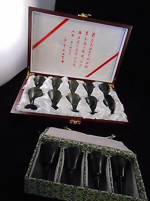 Chinese vintage  antique reproduction Spinach Jade Bowl  wine cups (14 pcs lot)