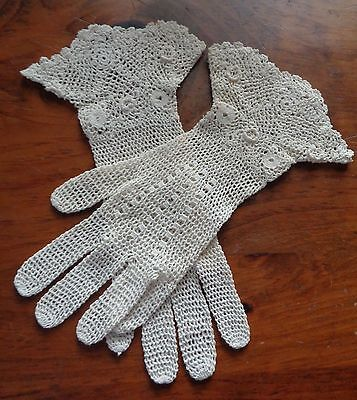 Antique/ Vintage CROCHETED LACE GLOVES- Sm Size or Child's