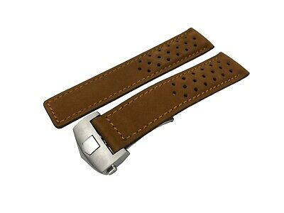 22mm Light Brown Genuine Suede/Leather Strap/Band fit Tag Heuer Carrera Watch