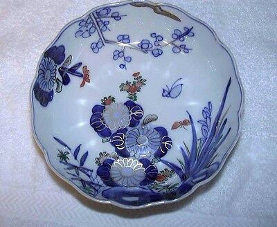 Antique Japanese Imari Porcelain Bowl Meiji Blue and White Butterfly Flowers
