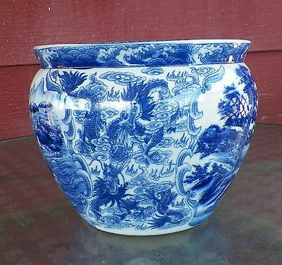 Vintage Satsuma Blue And White Porcelain Fishbowl Planter With Dragon