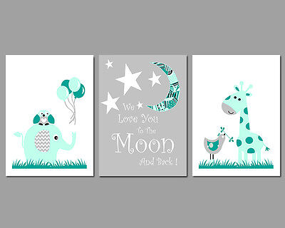 3 Wall Art Nursery Prints We Love You To The Moon And Back Mint & Grey Baby Gift