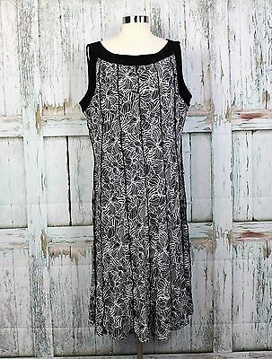 DRAPERS & DAMONS Stretch Fit Flare Black White Dress Womens Size PXL Petite XL