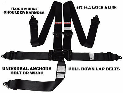 Dirt Oval Racing Harness Belt Sfi 16.1 Latch & Link Floor Mounted 5 Point Black