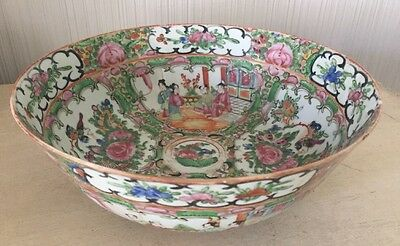 ANTIQUE CHINESE FAMILLE Canton ROSE MANDARIN Hand Painted Bowl Old China