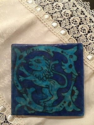 Antique Persian Middle Eastern Ceramic Tile Hand Paint